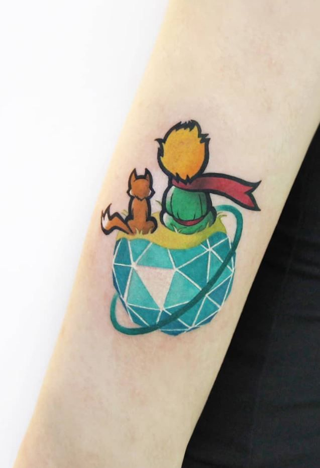 50 Best Colorful Tattoos For Everyone Prince Tattoos Tattoos Little Prince Tattoo