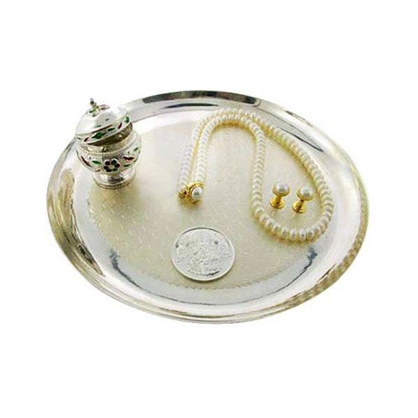 Jpearls Silver Puja Thali Set | Silver KumKum Dabi, Laxmi Silver Coin and Fresh Water Pearl Set