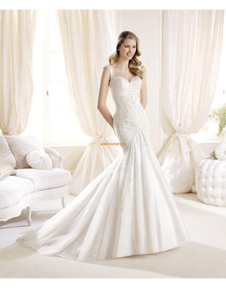 Avec bretelles Brillant & Séduisant Sans manches Robes de mariée de luxe
