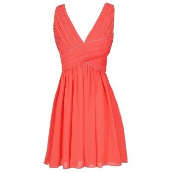 Coral Summer Cocktail Dress