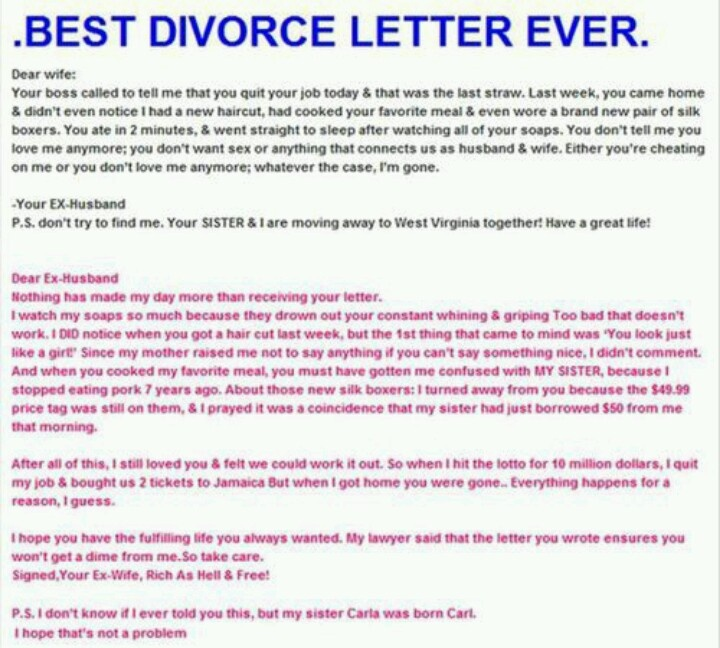 123 best Divorcing that ass images on Pinterest Ha ha, Funny - divorce letter template