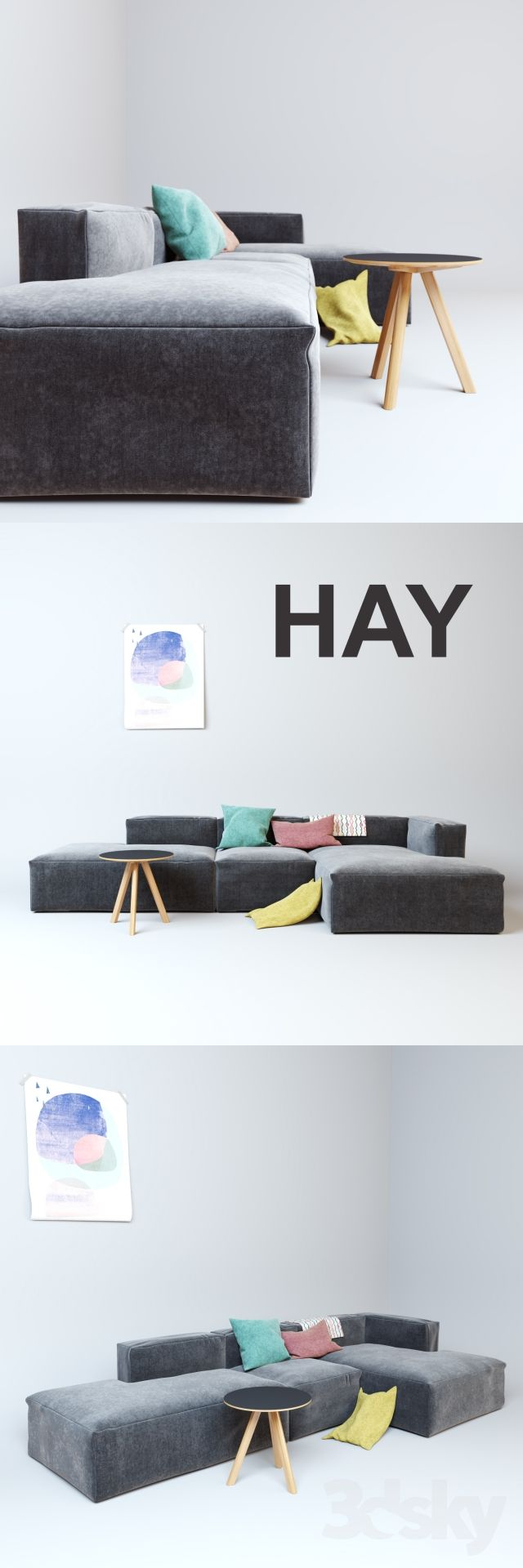 3d models: Sofa - HAY Mags Soft Sofa - this is perfect for the basement. Kids can rearrange as needed