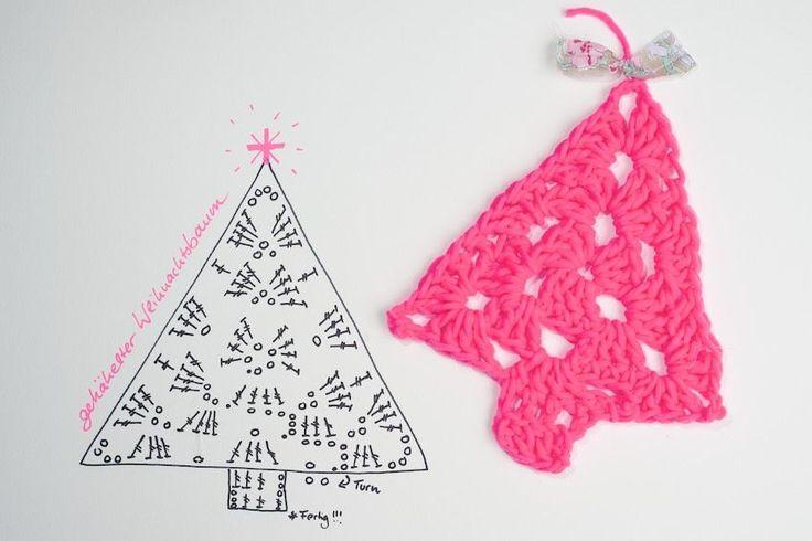 Crochet tutorial for granny tree ,DIY, gehäkelter Baum im Granny Style Neon