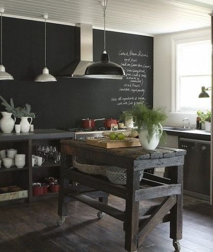 Kitchen! Chalkboard paint + stainless + wood floors + write + DIY barnboard kitchen island on wheels so it can also function as a serving cart
