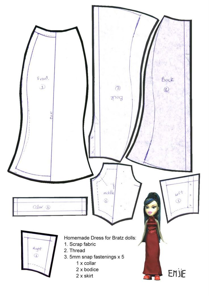 This is a picture of Légend Free Printable Barbie Clothes Patterns