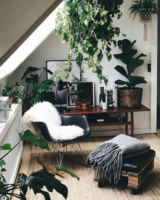 Cosy corner for a home office with plants and mixed textures http://www.in-form-design.com