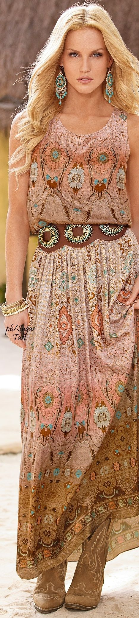 Love this boho inspired maxi dress // turquoise earrings. Hippy accessories.