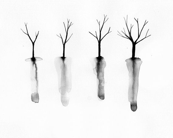 Autumn Trees with Roots Art Print - Fall Tree Silhouettes - Minimalist watercolor - Black and White Halloween Decor