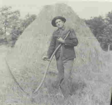Haymaking - farmer with scythe