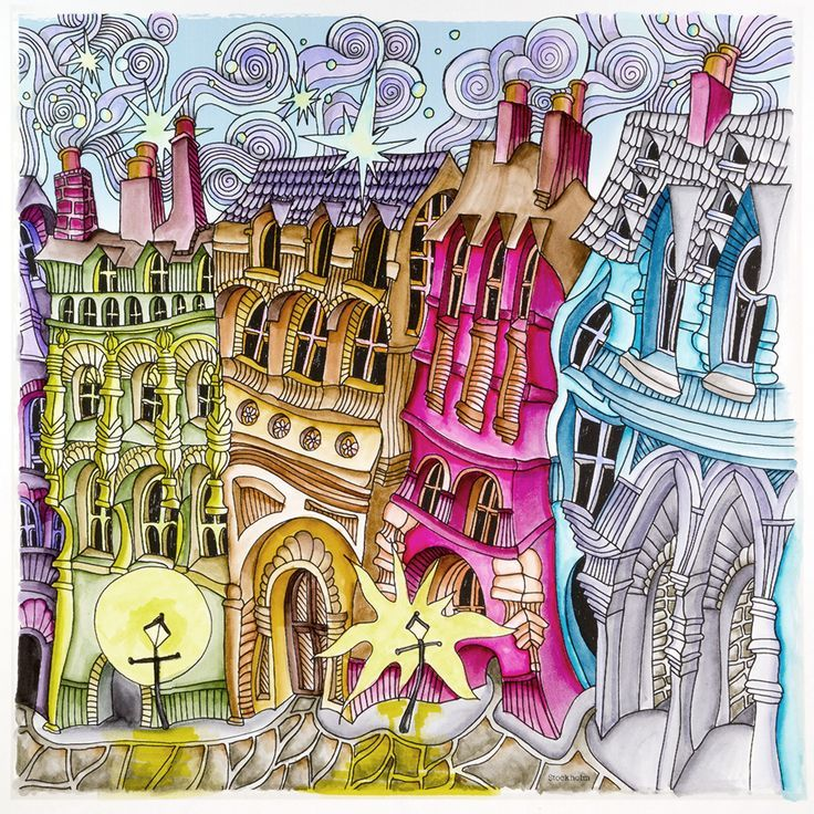 stockholm from lizzie mary cullen book magical city colored by me roger malinowski using tombow brush markers - Magic Marker Coloring Book