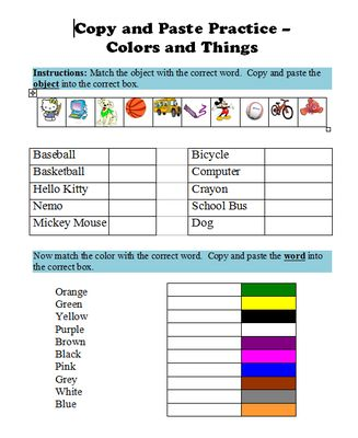 Copy & Paste Practice in Microsoft Word - Colors & Things from Miss Kay's Computer on TeachersNotebook.com (1 page)  - One page activity designed to help students practice their copying and pasting skills in Microsoft Word! Great for computer labs!