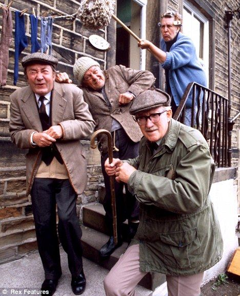 Last of the great battle-axes: Kathy Staff with troublesome trio Peter Sallis, Bill Owen and Brian Wilde