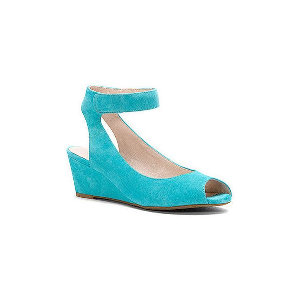 Sacha London Women's Venice Sandals (230 AUD) ❤ liked on Polyvore featuring shoes, sandals, turquoise, wedge shoes, toe-loop sandals, wedge heel sandals, leather ankle strap sandals and leather wedge sandals