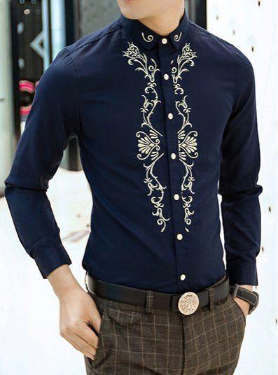 Embrodery cotton blend shirt