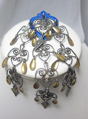 ANTIQUE NORWEGIAN SILVER BLUE ENAMEL HEART SOLJE WEDDING PIN 4 1/2 INCHES