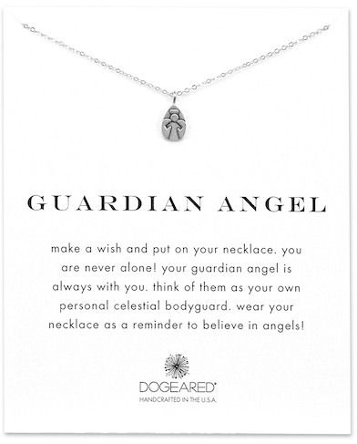 Dogeared Sterling Silver Guardian Angel Engraved Pendant Necklace