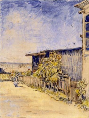 Shed with Sunflowers - Vincent van Gogh - ink and watercolor