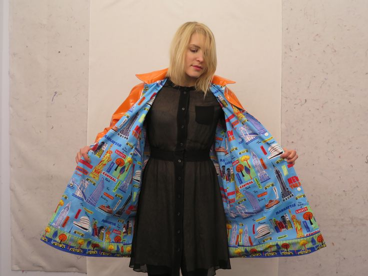 CQ Staffer Karen wears an NYC Boutique Raincoat with Bright City print lining the interior.