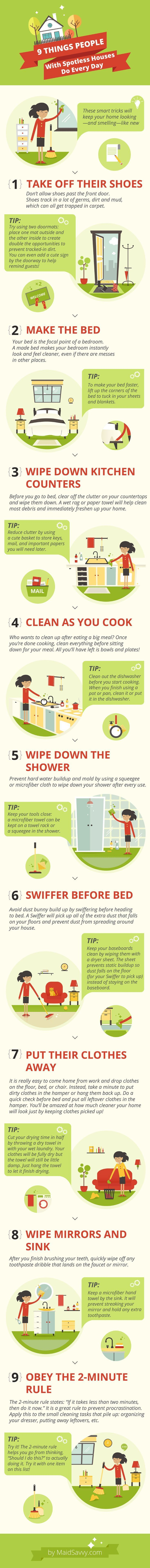 Simple things you can do every day to keep your home clean. Helpful cleaning tips in this infographic!