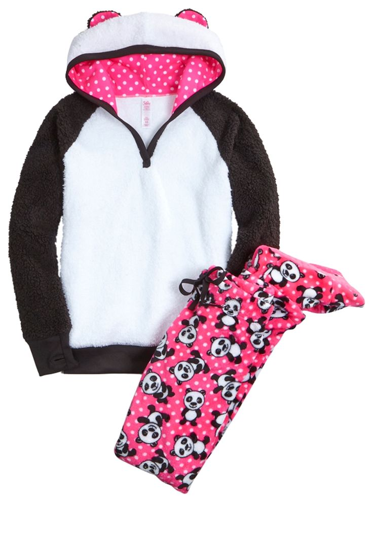 Panda Fleece Footed Pajama Set (original price, $19.99 ...