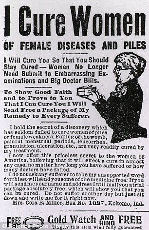 CURE: An advert from 1912 claiming to offer treatment for female diseases and piles, which consisted mainly of cocoa butter