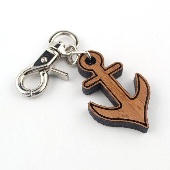 Wood Anchor Purse Charm: Bamboo Nautical Key Chain Zipper Pull