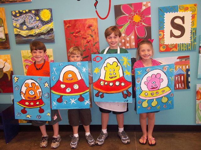 Aliens and spaceships art project, 2nd or 3rd grade idea
