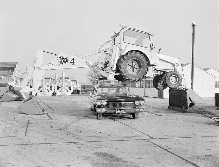1962: The JCB Dancing Diggers are born! The JCB 4 and a company cadillac perform for the first time what has now become a signature JCB move.
