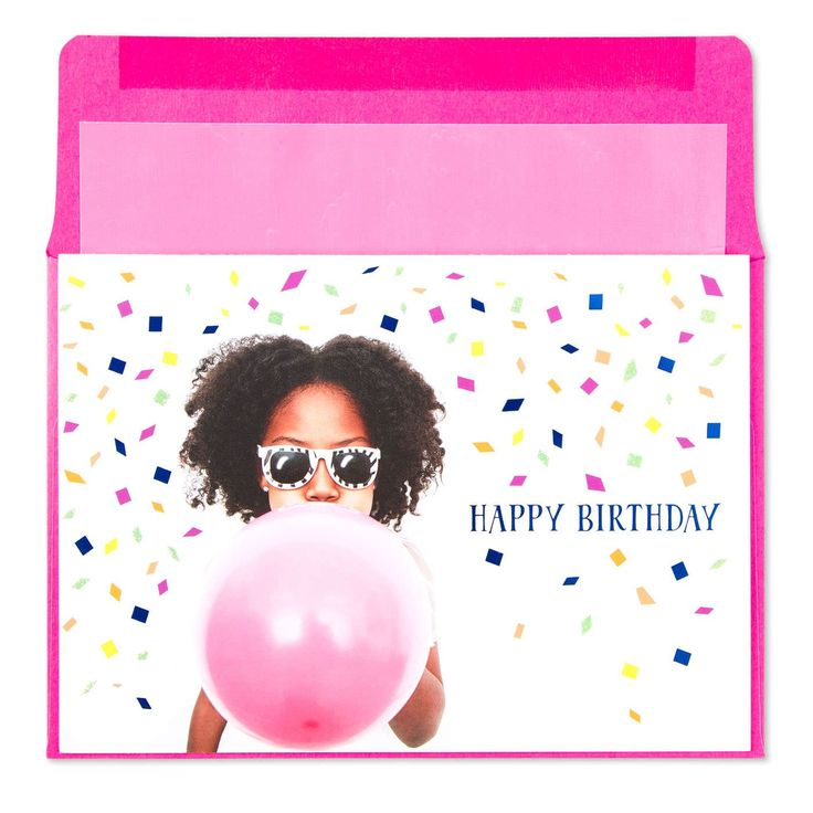 Girl Blowing Up Balloon Birthday CardSend your birthday best with this fun card from our Harmony collection featuring a girl blowing up a pink balloon against a confetti backdrop.