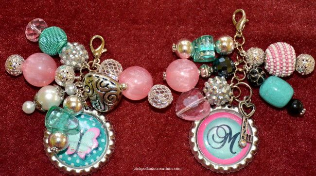 Beaded Bottle Cap Charms | Pink Polka Dot Creations
