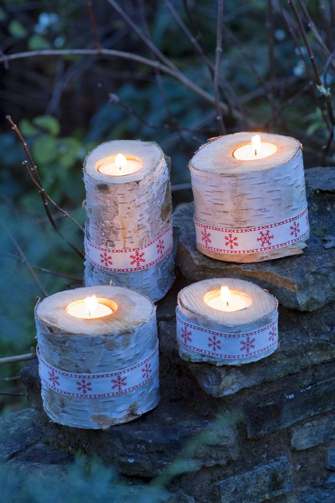 Homemade christmas festive candle holders made from birch for Log candle holder how to make