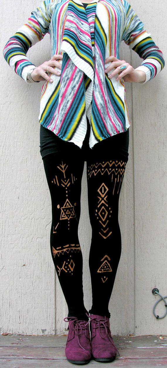 Tribal Leggings - inspiration. 80 denier black tights/black leggings and bleach pen?