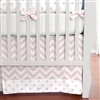 Pink and White Dots and Stripes Crib Skirt 14-Inch Box-Pleat with 4-inch Trim 100x100