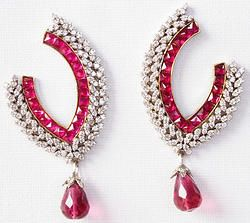 Hand-crafted brass metal drops finely studded with gemstones and cubic zirconia (American diamond) stones.  Size: 70mm x 35mm