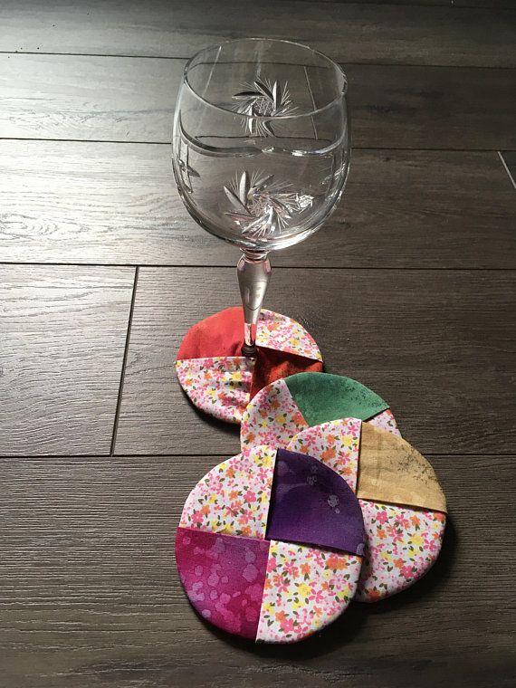 Round Coasters, Coasters, Wine Coasters, Set of 4, Fabric Wine Coasters, Reversible, Mug Mat, Beverage Coaster, Patchwork Coaster