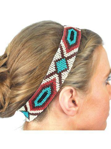 Multi-Color Aztec Seed Bead Headband
