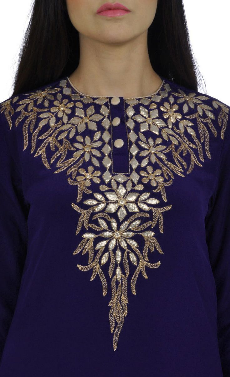 Royal Blue Hand Embroidered Gota Patti Pure Crepe Suit