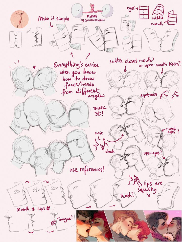 Yep… So this is what I think might be helpful. Check this tutorial by Sinix [x] it's super helpful for drawing faces from different angles. Generally, if I can imagine a head in 3D I'm able to draw it and drawing eyes first helps me visualise everything. (It's super sketchy but hope it's understandable anyway :))  ♥ 337 FEB 18TH #TBH IT'S ALWAYS BETTER TO AKS SOMEONE WHO DREW MORE THAN THREE DRAWINGS OF PEOPLE KISSING  the-selfinserting-rainbow liked this
