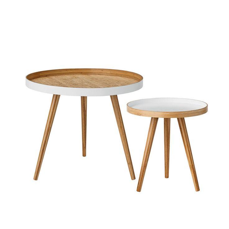 Set mesas auxiliares, bambú, Mivinteriores, Grande: Ø60x50 cm Alto. Pequeña: Ø40x43 cm Alto., 305€