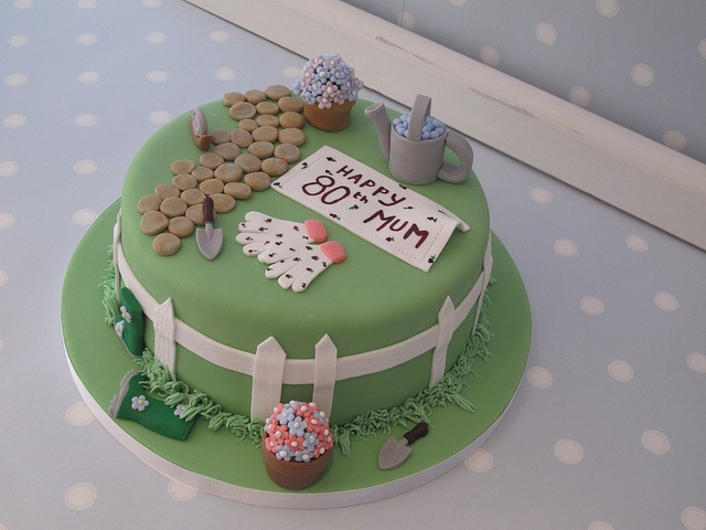 Garden themed cake for Don's Mum's 80th birthday by Vintage House Bakery, via Flickr