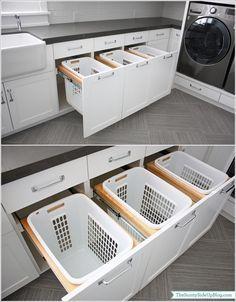 Schubladen mit Wäschekörben für den Waschkeller oder Hauswirtschaftsraum.