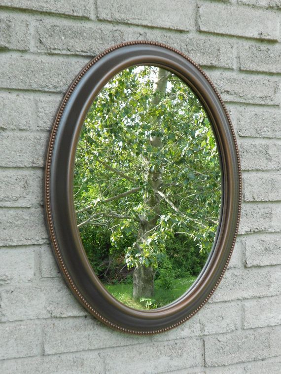 Wall Oval Mirror With Oil Rubbed Bronze Color Frame. ( Bathroom Mirror,  Vanity M