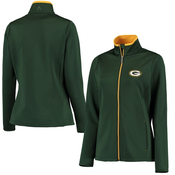 Antigua Green Bay Packers Women's Green Leader Full Zip Jacket