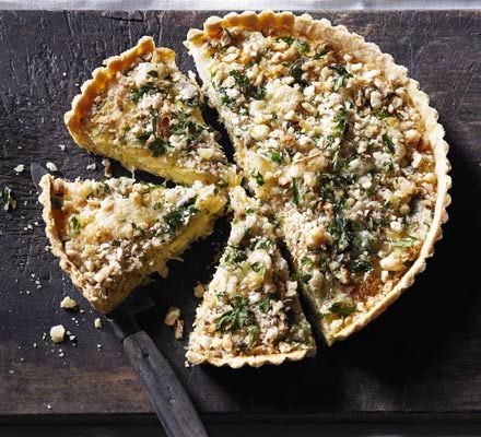 Leek & Caerphilly crumble tart I made this with Wensleydale as couldn't find caerphilly. Very nice. I made it in a 25.5 cm tin. Mixture came to top of pastry case. Too much topping! Probably cut quantity in half. But will definitely make again - very popular with everyone who ate it!