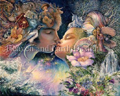 Prelude To A Kiss - Painting by Josephine Wall.  Chart design by Michele Sayetta for Heaven and Earth Designs.