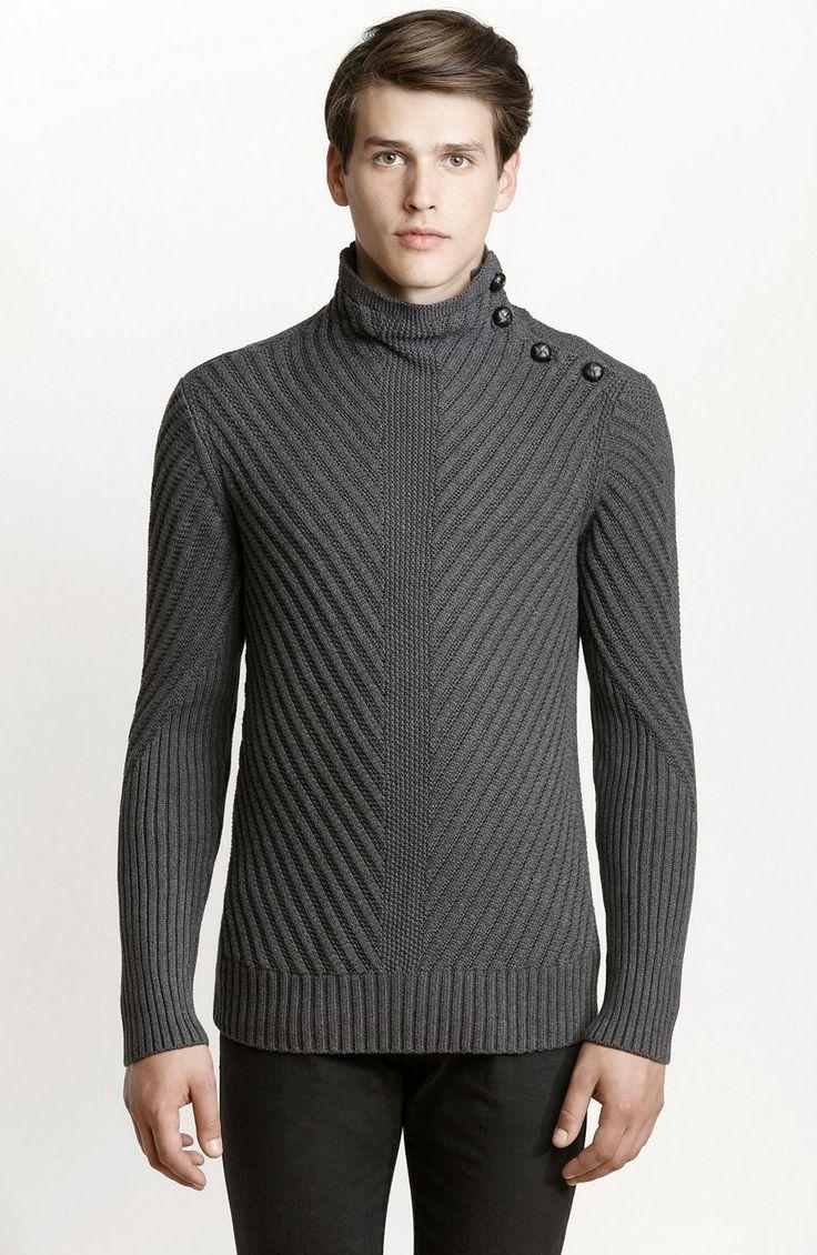 Chevron Stitch Turtleneck Sweater - Sweaters - Mens - Armani Exchange