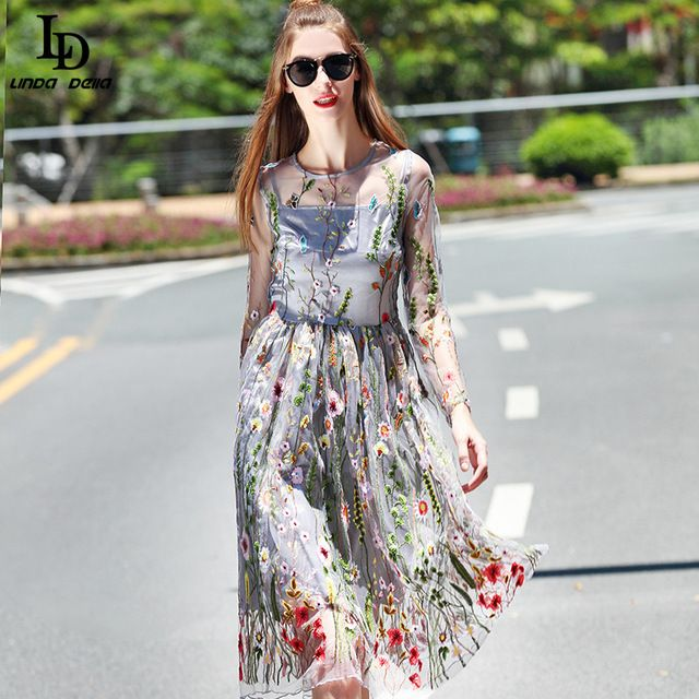 Nova Moda 2016 Designer de Outono Vestido Longo da Luva das Mulheres do Bordado Decorativo Do Joelho-Comprimento Vestido Tamanho SL