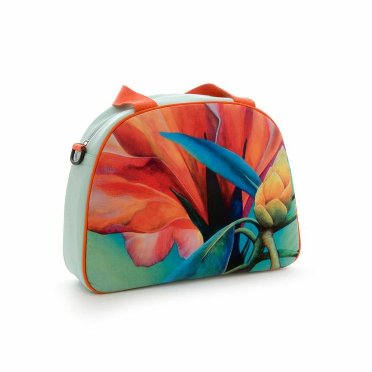 """Artbag """"Aqua"""" displays Dutch floral art on outdoor textile on one side of the bag. Shoulder bag with detachable handles, zipper inside. Four studs on the bottom of the bag help it stand upright. Soft aqua -coloured artificial leather, with orange hand- and shoulder straps. Price: 60 euro excl transport costs. Order via info@florifique.com."""