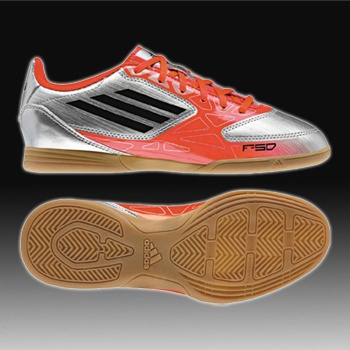 adidas F5 IN J Silver-Black-Red Youth Indoor Soccer Shoes - Jack's soccer
