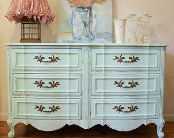 SOLD! Shabby Chic Dresser, French Provincial Dresser, Mint Green Dresser, Distressed Dresser, antique dresser, Free NYC Delivery